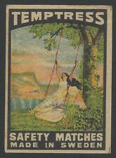 TEMPTRESS Mohini vintage litho matchbox label Made in Sweden for India