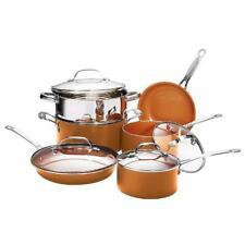 Gotham Steel Cookware Set 10-Piece Round Aluminum Nonstick Glass Lids (Copper)
