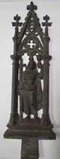 Antique Ornamental Cast Iron Church Marker Plaque Exquisite Maiden Cross Chalice