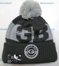 Green Bay Packers New Era Men's Knit One Time Removable Pom Cuffed Beanie Gray