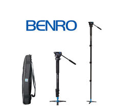 Benro A38FDS2 Video Monopod Twist Lock, S2 Head and 3 Leg Base (Black) OPEN BOX