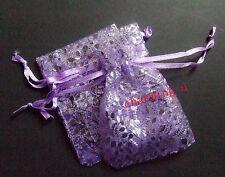 10pz sacchetti in organza con  foglia colore viola 9x7mm