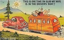 Vintage Travel Trailer Art Comic Wife Driving Refrigerator / Tool  Box  Magnet