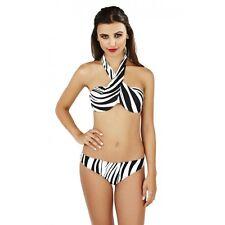 Señoras Monocromo Multi Forma Bikini conjunto, monocromo, Animal Zebra Print Reino Unido 10