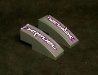 Lego Slope Curved 3x1, No Studs, Sticker: 'XRFUEL' [50950pb025L&R] Dark Grey x2