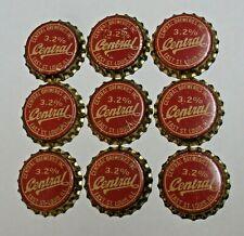 9 - CENTRAL 3.2% - CORK unused BEER BOTTLE CAPS - EAST ST. LOUIS, ILLINOIS