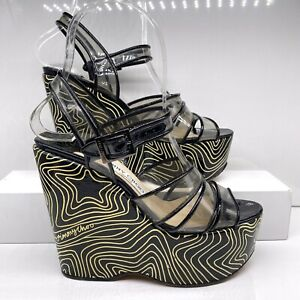 Jimmy Choo Size 36 Neon Star Striped Patent Clear Straps Platform Wedges Sandals