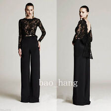 Black Lace Mother of Bride Evening Outfits Long Sleeve Party Formal Pant Suits