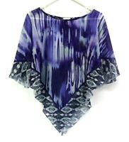 Chico's Women's Size 1 Summer Shimmer See Through Poncho Top Swim Cover Purple