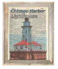 Chicago Harbor Lighthouse Illinois Altered Art Print Upcycled Vintage Dictionary