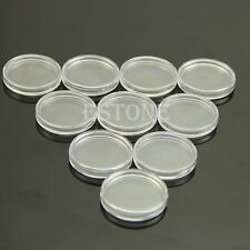 Hot 10pcs Clear Round Cases Coin Storage Capsules Holder Round Plastic 24mm