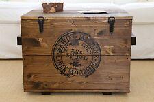 Caja de Madera Shabby Chic Carga Vintage Arca Transporte Mesita Baja Marrón