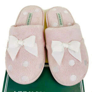Laura Ashley Pink / White Women's Slippers Polka Dots + Bow - Size Small 5 - 6