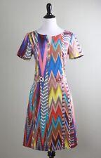 CAROLINE BISS $245 Vibrant Zig Zag Ikat Print Tab Waist Split V Dress Size 36