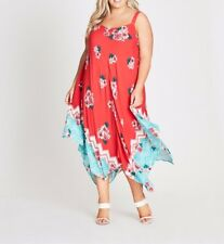 Plus Size Autograph Floral Hanky Hem Viscose Midi Dress Size 16 free Post
