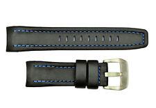 LUMINOX 24mm Black Leather Watch Band Blue Stitching (Shuttle Imprint) + 2 Pins
