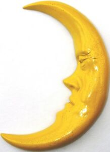 """Handmade Mask-Style 11"""" Crescent Moon, a Wall Sculpture by Claybraven"""