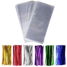 """200 Pack 5"""" X 11"""" Clear Cello Treat Bags 1.4mil Opp Plastic With 6 Mix Colors"""