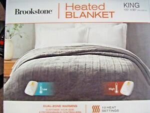 New-Open Box Brookstone KING Sized Dual-Zone Heated Blanket in Grey