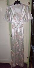 Vtg Val Mode Arnell Nylon Pink Floral Robe w/ Lace Trim Size Small