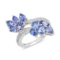 925 Sterling Silver Platinum Over Blue Tanzanite Zircon Promise Ring Gift Ct 3.3