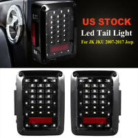 Pair for JK JKU 2007-2017 Jeep Wrangler Led Tail Light Clear Len Rear Light
