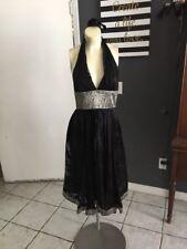 AR Marchesa Notte Dress SZ 4 Black Silk Brocade Trim Flowy Halter Cocktail