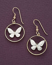 "3/4"" Dia., ( # 251E ) Butterfly Earrings, Hand cut Philippines Butterfly Coins,"