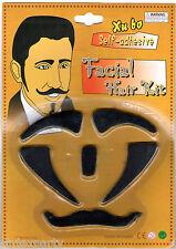 Fun Facial Hair Kit Black Self Adhesive Moustache Sideburns Eyebrows Fancydress
