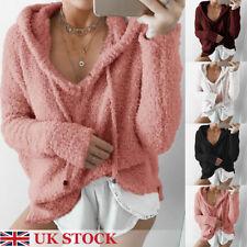 Womens Ladies Knitted Sweater Jumper Hoodie Knitwear Winter Long Sleeve Tops UK