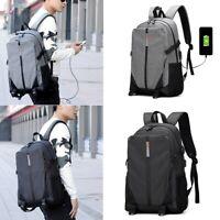 US Men USB Port Laptop Backpack School Shoulder Bag Travel Rucksack Satchel Tote