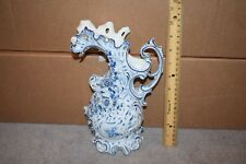 Vintage Germany Jug or Pitcher With Applied Flowers Blue & White Rare