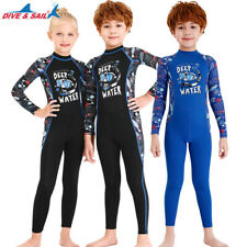 Stretchy Kids Diving Suit Youth UPF50+ Wetsuit Jumpsuit Long Sleeve Back Zip
