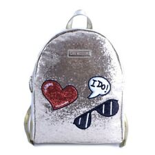 Borsa zainetto backpack Love Moschino donna woman pelle glitter oro gold patch
