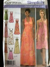 Pattern Simplicity 4577, misses' DYO evening dress, var. bodice , maxi, midi