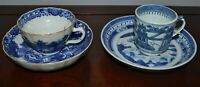 2 Antique Chinese Blue and White Porcelain Cups and Saucers Hairline