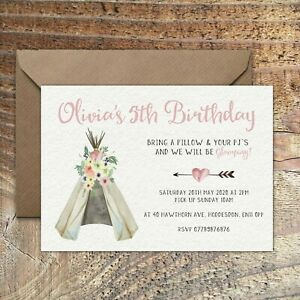 BIRTHDAY INVITATIONS Kids Party Teepee Sleepover Personalised Any Age PK 10