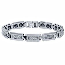 NEW Men's Shiny Tungsten Carbide Bracelet w/ SILVER Carbon Fiber Inlay TOP STYLE