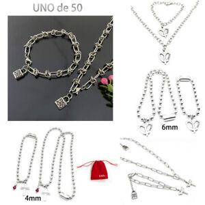 UNO De 50 Unisex Jewelry Set Logo Lock Stainless Steel Necklace Bracelet Gift