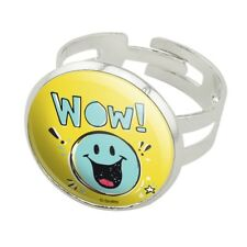 Wow Smiley Face Officially Licensed Silver Plated Adjustable Novelty Ring