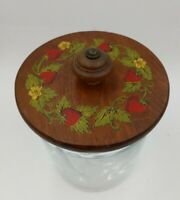 Vintage clear glass storage canister jar with wooden painted Strawberry Lid