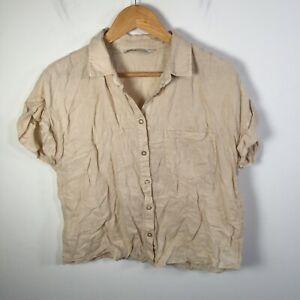 Zara womens button up shirt size L beige linen cropped short sleeve collared