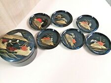 Vintage Set of SIX Lacquer Ware Coasters in ROUND Box Japan