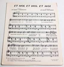 Partition music sheet JACQUES DUTRONC : Et Moi, Et Moi, Et Moi * 60's