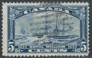 Canada #204(7) 1933 5 cent dark blue ROYAL WILLIAM DUPLEX Cancel CV$4.50