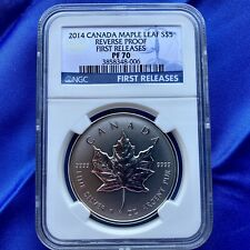 2014 S$5 CANADA MAPLE LEAF, 1oz SILVER,  NGC PF70 REVERSE PROOF, FIRST RELEASES