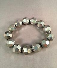 Gray disco ball stretch bracelet