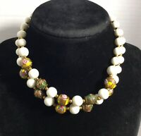 """Vintage White Round Glass Beads & Multi-Color Chain Strand Necklace 12"""""""