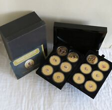 TDC 2015 IMPERIAL CROWN COLLECTION 12 PROOF SET LAYERED IN 24 CARAT GOLD - boxed