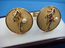 !SOLID 14K YELLOW GOLD GOLF MOTIF CUFFLINKS WITH PEARLS,17 GRAMS,22 MM DIAMETER
